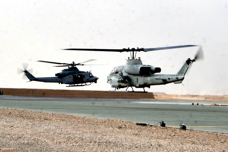 U S M C Ah 1w Super Cobra And Uh 1y Huey Helicopter